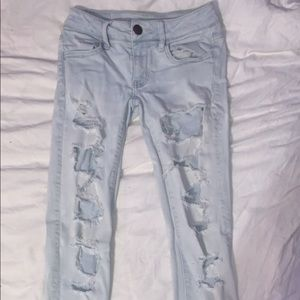 American Eagle super stretch low-rise ripped jeans